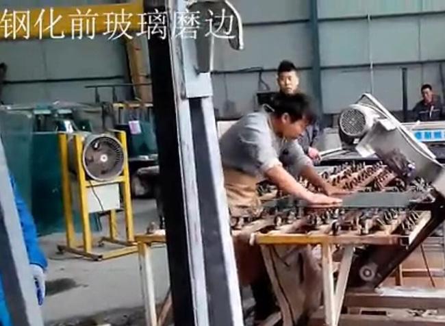 砂带机、磨边机、倒棱机——钢化前玻璃磨边视频
